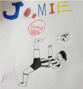 """Football x Jamie Johnson = Amazing Skills"" - Rio's drawing of JJ trying his luck with the overhead kick..."