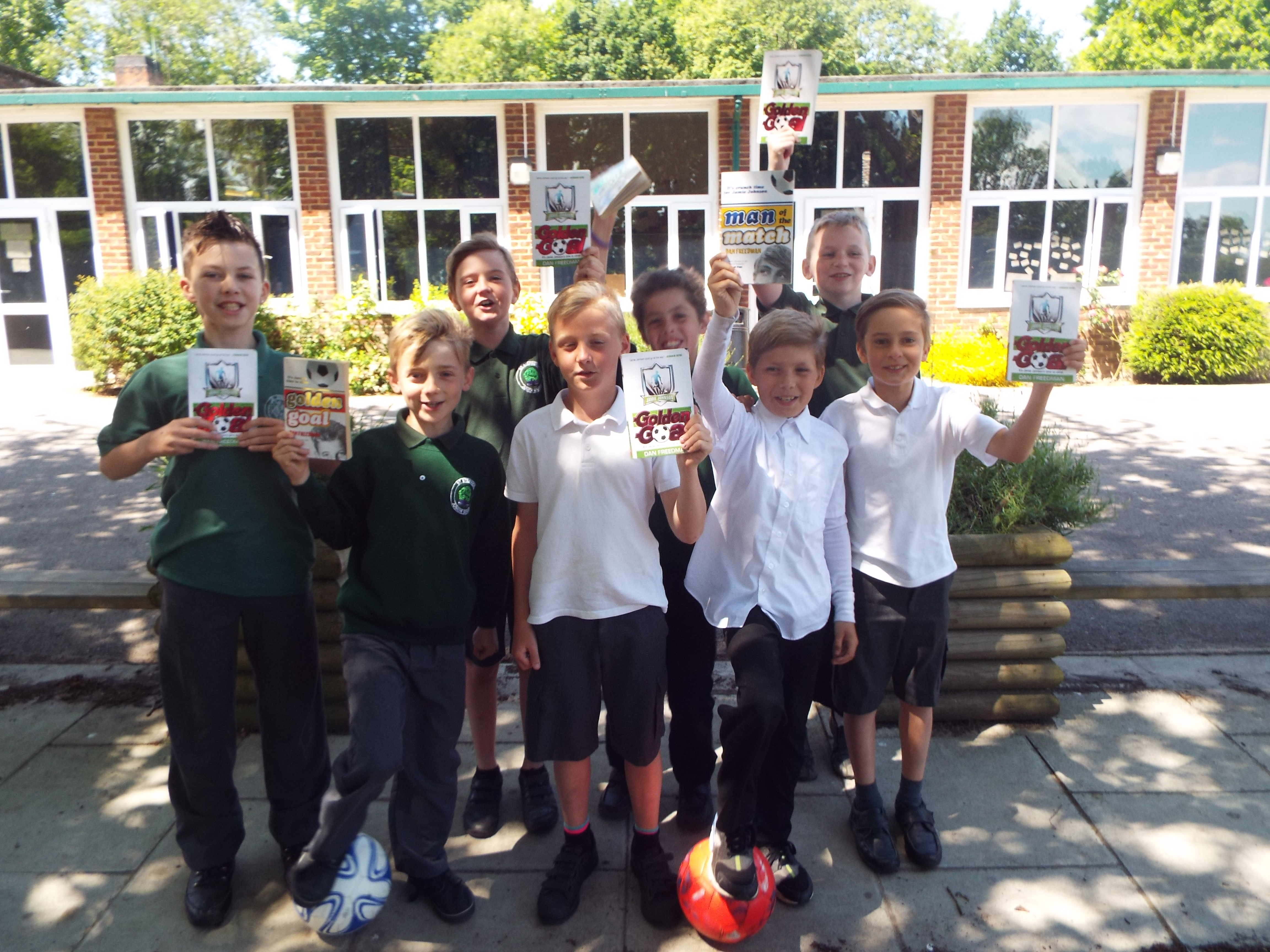 St Stephen's Junior School students with the Jamie Johnson books they are reading